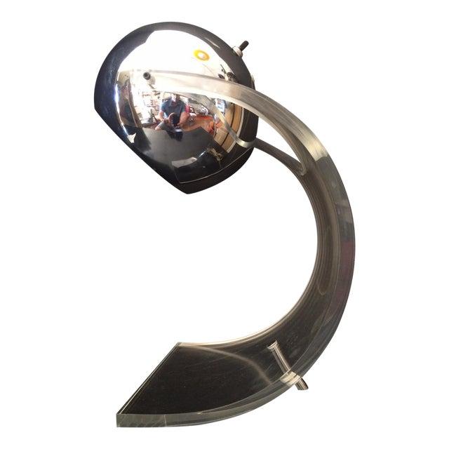Chrome Eyeball & Lucite Lamp by Robert Sonneman For Sale