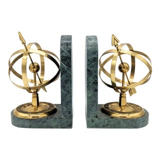 Vintage Mid Century Neoclassical Brass and Green Marble Armillary Sphere Bookends- a Pair For Sale