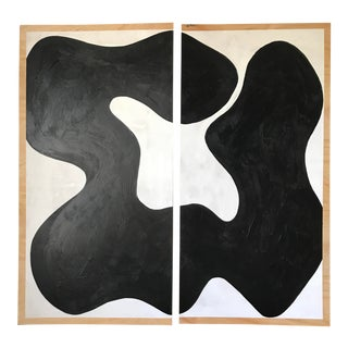 Hannah Polskin Abstract Monochrome Diptych - 2 Pieces For Sale