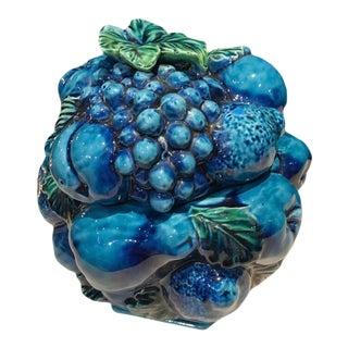 Vintage Blue Green Inarco Fruit Basket Cookie Jar For Sale