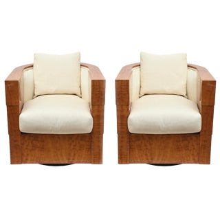 Pace Exotic Camino Wood and Upholstered Swivel Club Chairs - a Pair For Sale