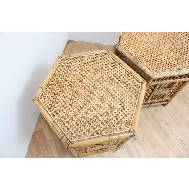 Wicker Chinese Chippendale Hexagonal Side Tables- Brighton Pavilion Pair For Sale - Image 7 of 10