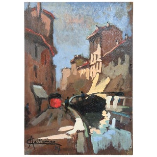 20th Century Italian Oil Painting on Wood Panel by Achille Cattaneo, 1917 For Sale