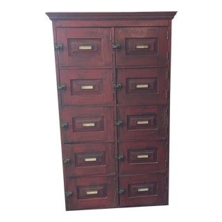 19th Century Rustic Oak Cabinet Original Red Paint, Mailbox, Apothecary Storage For Sale