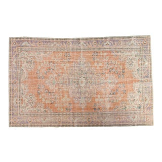 "Vintage Distressed Oushak Carpet - 5'4"" x 8'7"""