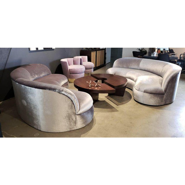 Pair of biomorphic kidney form sofas for Directional Furniture, 1990s, often attributed to Vladimir Kagan. Very...