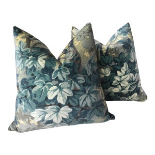 """Zoffany """"Richmond Park"""" in Evergreen Velvet Complete Pillows With Plush Down Inserts - a Pair For Sale"""