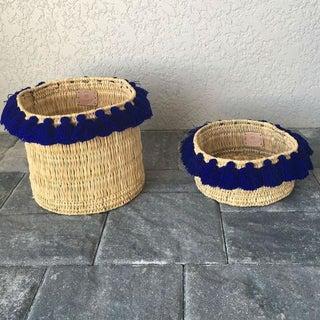 Moroccan Large Cobalt Blue Tassel Basket Preview