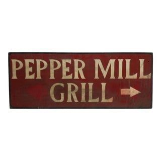 "1950 Vintage ""Pepper Mill Grill"" Wooden Restaurant Sign For Sale"