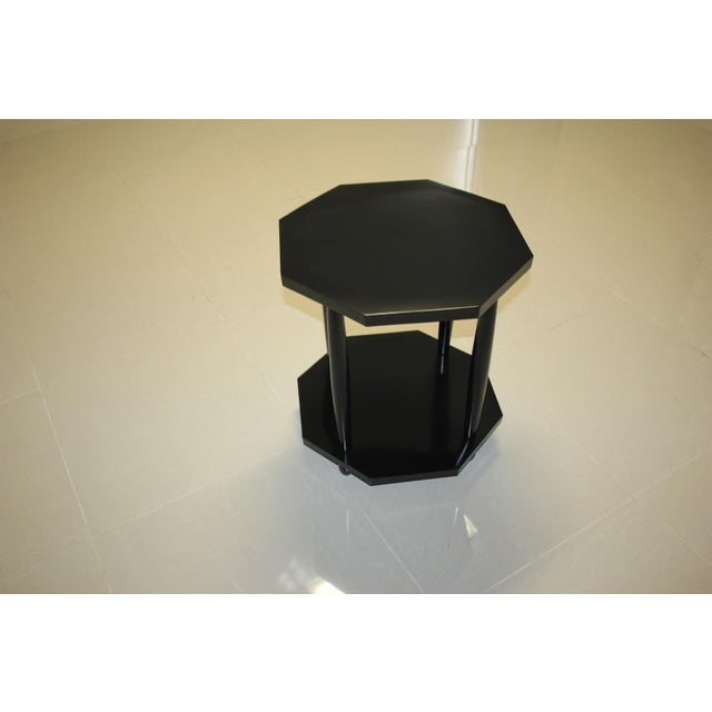1940s French Art Deco Black Ebonized Coffee / Side Table For Sale - Image 12 of 13