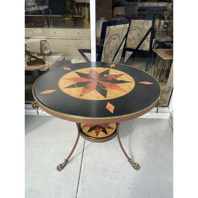 Metal Round Gueridon Table in Bronze by Sarried. For Sale - Image 7 of 7