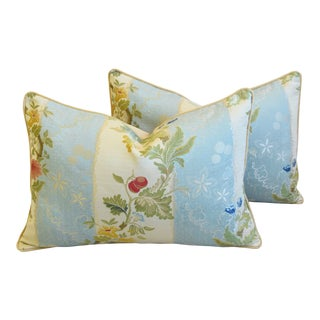 "Scalamandre Italian Silk Lampas Feather/Down Pillows 26"" X 18"" - Pair For Sale"