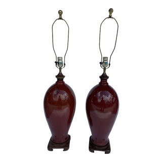 Tall Ceramic Table Lamps With Oriental Base a Pair. For Sale