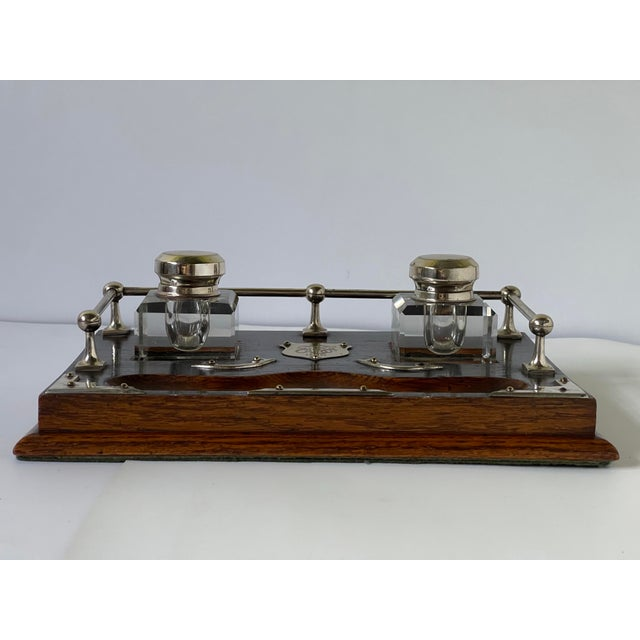 Antique English Double Inkwell Desk Set For Sale - Image 4 of 12