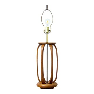 Walnut and Brass Table Lamp by Modeline For Sale