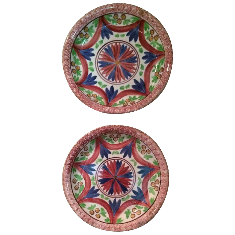 Antique English Splatterware Chargers - A Pair  sc 1 st  Chairish & Vintage \u0026 Used Red Decorative Plates | Chairish