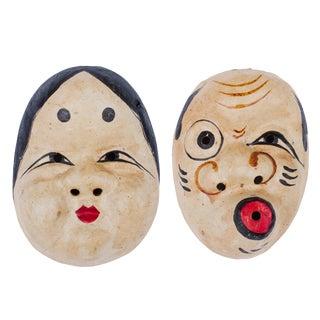 Vintage Japanese Noh Kyogen Theatre Okame and Hyottoko Masks