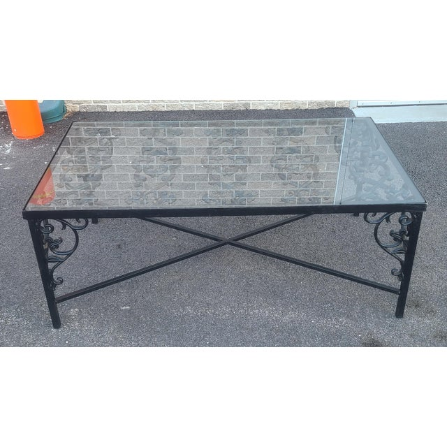 Heavy Wrought Iron Glass Top Coffee Table ~ Fabricated From Old French Gate, 50 X 29.5 ~1990s For Sale - Image 13 of 13