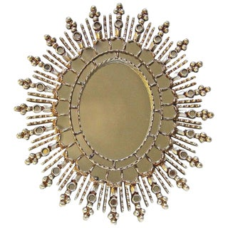 Sunburst Silver Giltwood Spanish Colonial Wall Mirror For Sale