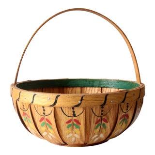Antique Wooden Band Basket For Sale