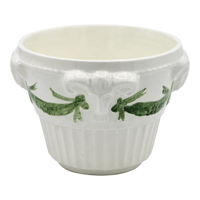Italian White Rams Head Ceramic Planter For Sale