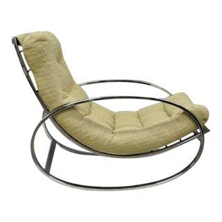 Mid Century Modern Renato Zevi Selig Ellipse Milo Baughman Chrome Rocking Chair For Sale