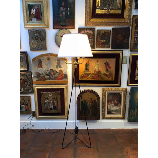 White Pair of Early Gerald Thurston Iron Floor Lamps For Sale - Image 8 of 9