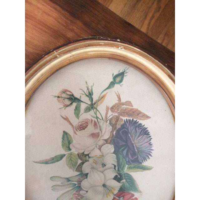 Vintage Oval Framed Floral Art For Sale - Image 5 of 8
