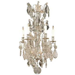 Late 19th Century Antique French Silvered Bronze and Crystal Chandelier