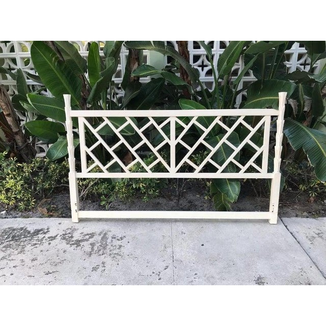Asian 1970s Chinese Chippendale True White King Size Headboard For Sale - Image 3 of 4