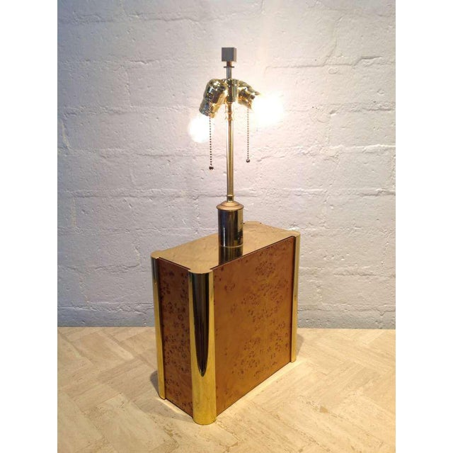 Gold Burl-Wood and Brass Table Lamp Designed by Milo Baughman For Sale - Image 8 of 9