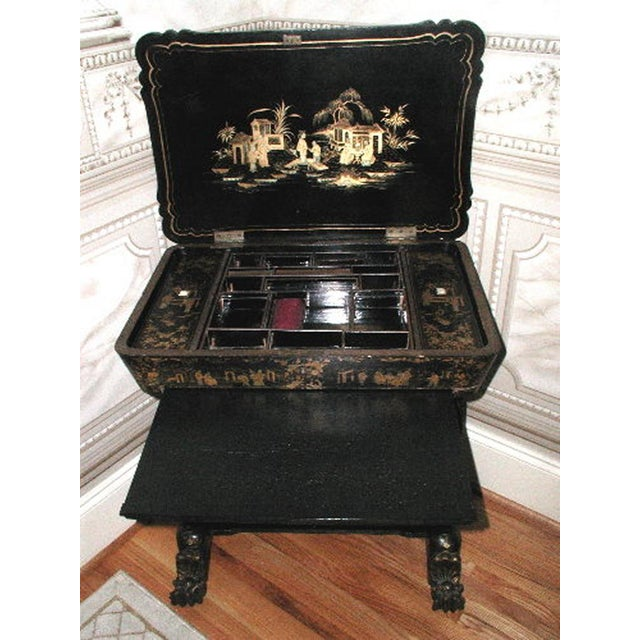 Antique English 1850s Chinoiserie Sewing Chest - Image 7 of 11