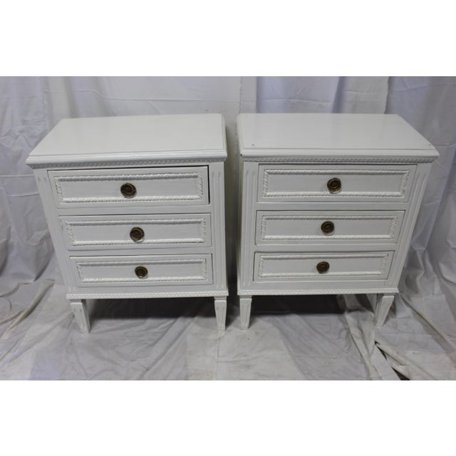 Vintage Swedish Gustavian bedside chests. Imported from France. Hand carved from solid Oak wood. Beautifully hand carved...