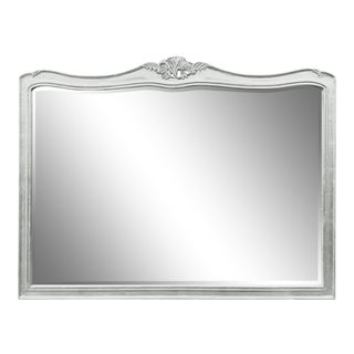 Oversized Beveled White Mirror For Sale