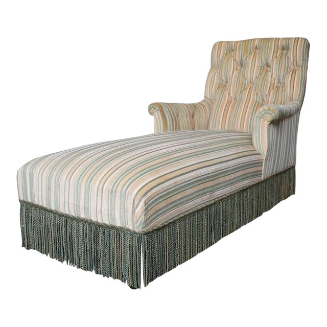 French 19th C. Napoleon III Chaise Lounge in Striped Fabric - Image 1 of 11