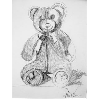 """Teddy Bear"" Contemporary Modern Graphite Drawing by Martha Holden For Sale"