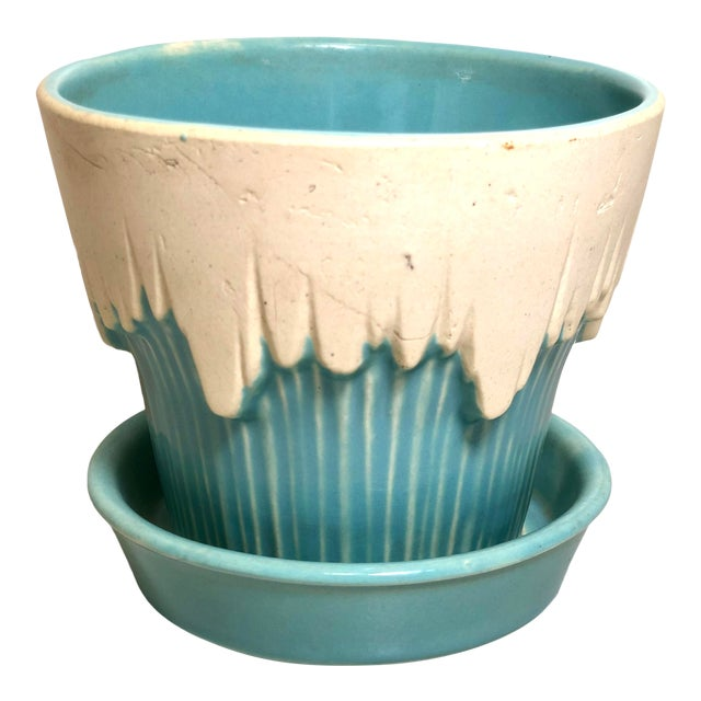"""1940s - 1960s Mid-Century McCoy Pottery Small """"Teal Blue"""" Flowerpot and Saucer For Sale"""