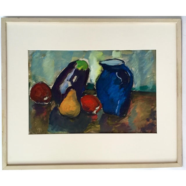Oil on paper Modernist still life by Harold Christopher Davies, signed lower right. Provenance: Estate of the artist and...