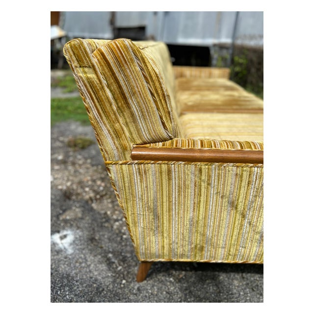 Yellow Mid-Century Modern Yellow Striped Variegated Velvet Sofa For Sale - Image 8 of 13