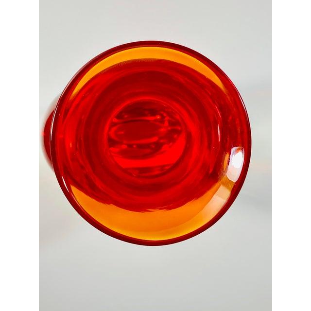 "1960s 1965 Antonio Da Ros Cenedese ""Borraccia Ovale"" Sommerso Red Vaseline Glass Vase, Signed For Sale - Image 5 of 12"
