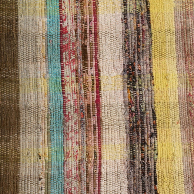 1970s Vintage Chaput Geometric Striped Beige-Brown and Multicolor Wool Kilim Runner Rug For Sale - Image 5 of 7