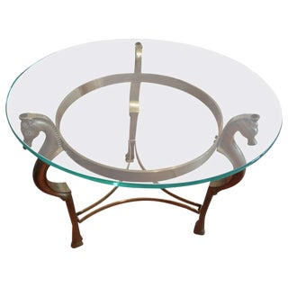 1970s Vintage Italian Seahorse Supported Brass Table For Sale