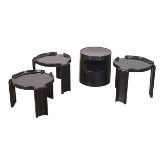 1970's Vintage Black Acrylic Kartell Stacking Tables- Set of 4 For Sale