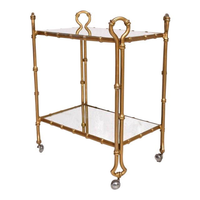 Mexican Modernist Faux Bamboo Service Cart, Attributed Arturo Pani For Sale
