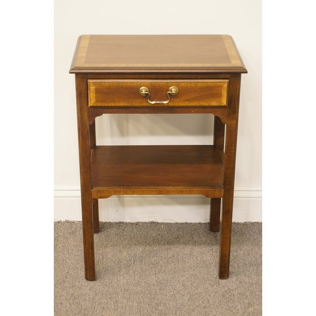 """Traditional 20th Century Traditional Sherrill Furniture Banded Mahogany 18"""" Nightstand For Sale - Image 3 of 13"""