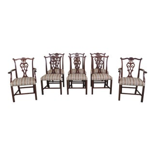 1970s Vintage Kittinger Style Chippendale Mahogany Dining Chairs- Set of 8 For Sale