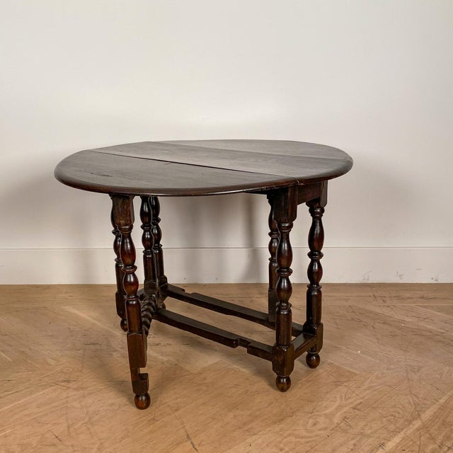 Wood Vintage English Drop Leaf Table For Sale - Image 7 of 7