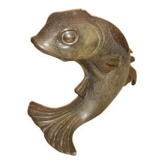Monumental Bronze Fish Form Wine Bottle Holder or Ice Bucket For Sale