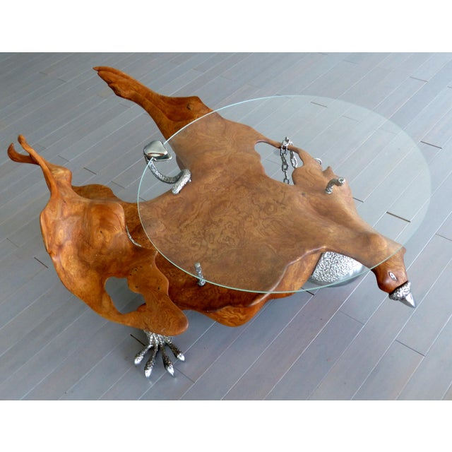 Fantasy furniture burl and chrome studio coffee table, figurative eagle & serpent Offered for sale is a spectacular...