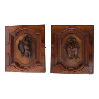 Carved Black Forest Walnut Re-Purpose Architectural Fish Boar Bird Plaques Cabinet Doors - a Pair For Sale